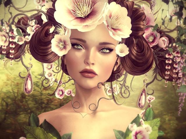 Девушка прически с цветами арт рисунок